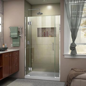 DreamLine Unidoor-X 72-in H x 36-in to 36-1/2-in W Frameless Hinged Chrome Shower Door (Clear Glass) | D1240672-01