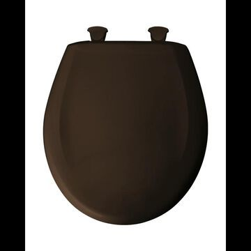 Bemis 200SLOWT Round Closed-Front Toilet Seat and Lid with Whisper-Close Easy-Clean & Change and STA-TITE Seat Fastening System Espresso Brown