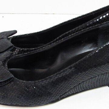 Vaneli Womens Bounty Open Toe Wedge Shoes, Black Squama Print, US 6.5