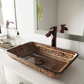 VIGO Golden Greek Vessel Bathroom Sink and Otis Vessel Faucet Set