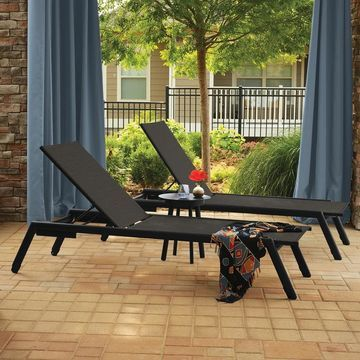 Oxford Garden Eiland 3-Piece Carbon Ninja Chaise Lounge and End Table Set (Black)