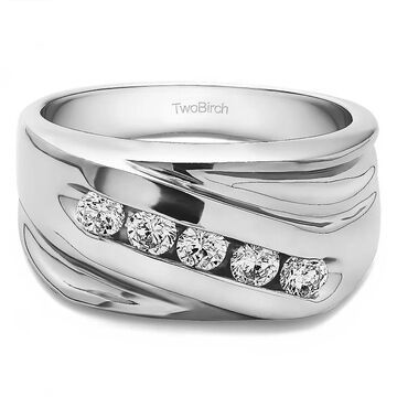 TwoBirch Sterling Silver Designer Men's Fashion Ring Or Cool Mens Wedding Band With Diamonds
