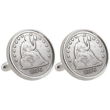 American Coin Treasures Auburn University 1856 Sterling Silver Dime Cuff Links