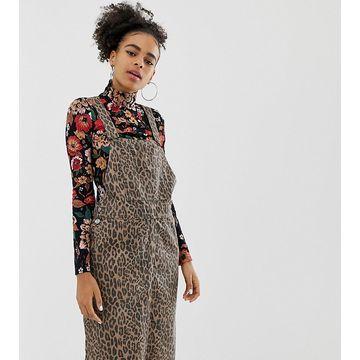 Monki leopard print midi overall dress in brown