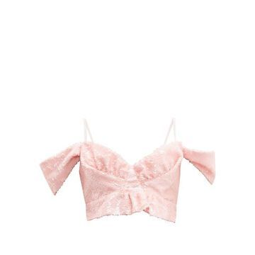 Simone Rocha - Sequinned Cropped Top - Womens - Pink
