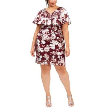 Connected Plus Size Floral-Print Flounce Sheath Dress, Created For Macy's