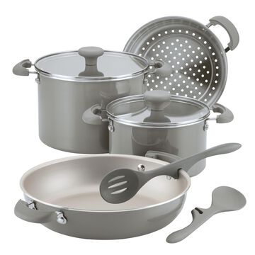 Rachael Ray 8-Piece Get Cooking! Stackable Nonstick Cookware Set, Gray