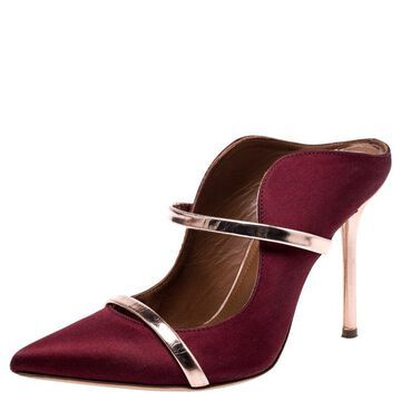Malone Souliers Burgundy Satin Maureen Pointed Toe Mules Size 35