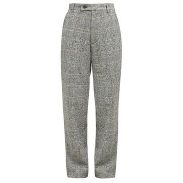 Aries - Prince Of Wales Check Cotton Blend Boucle Trousers - Womens - Grey