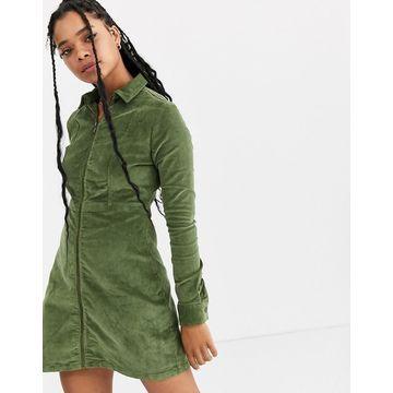 Noisy May zip through cord mini dress-Green