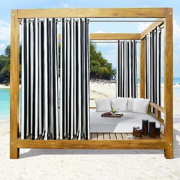 """Commonwealth Home Fashions 108"""" Seascapes Stripe Outdoor Curtain Panel In Black (Single)"""