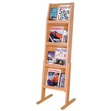 LD49-12FSLO 4 x 3 in. Slope 12 Pocket Standing Literature Display - Light Oak