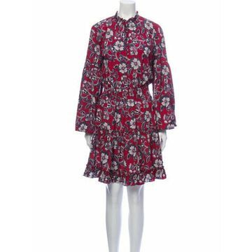 Floral Print Knee-Length Dress w/ Tags Red
