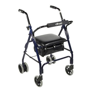 Drive Medical Mimi Lite Push Brake Rollator Walker, Blue