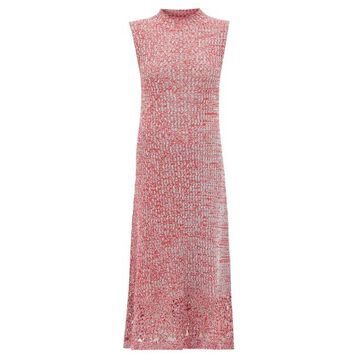 Jil Sander - Crochet-hem Knitted Cotton-mouline Dress - Womens - Red Multi