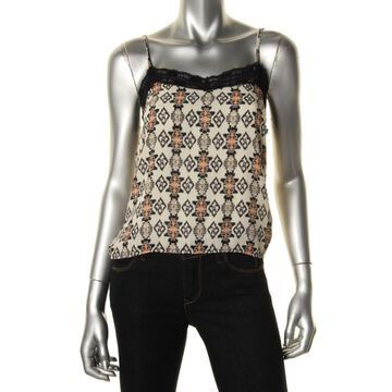 Ultra Flirt Womens Printed Lace Trim Tank Top