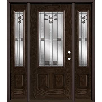 Masonite Frontier 64-in x 80-in Fiberglass 3/4 Lite Left-Hand Inswing Walnut Stained Prehung Single Front Door with Sidelights with Brickmould in