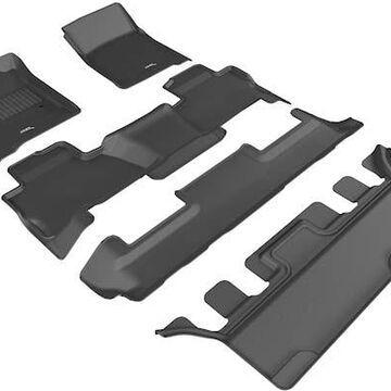 2020 GMC Yukon 3D Maxpider Kagu Floor Mats, Front, 2nd, and 3rd Row Floor Mats in Black