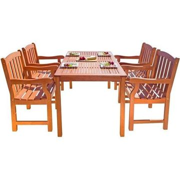 Vifah Table/Chair Set - 59'' x 32'' x 29'' Table, 25'' x 24'' x 36'' Chair - Material: High Density Eucalyptus - Finish: Oil Rubbed