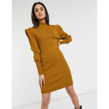 Vila high neck knitted dress with shoulder pads in mustard-Brown