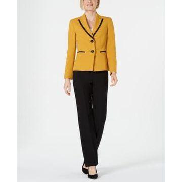 Le Suit Peak-Lapel Contrast-Trimmed Pantsuit
