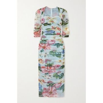 Dolce & Gabbana - Ruched Floral-print Cotton-tulle Midi Dress - Blue