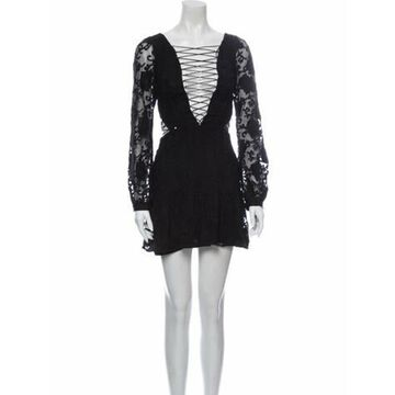 Lace Pattern Mini Dress Black