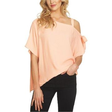1.STATE Womens Tie-Detail One Shoulder Blouse