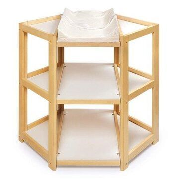 Badger Basket Diaper Corner Baby Changing Table, Natural, Includes Pad