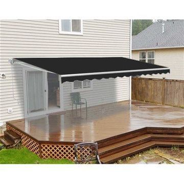 ALEKO 12'x10' Motorized Retractable Patio Awning, Black Color