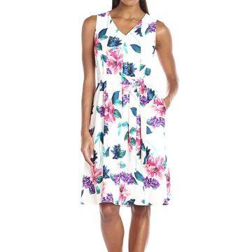Ellen Tracy Womens White Size 12 Floral V-Neck Tie-Waist A-Line Dress