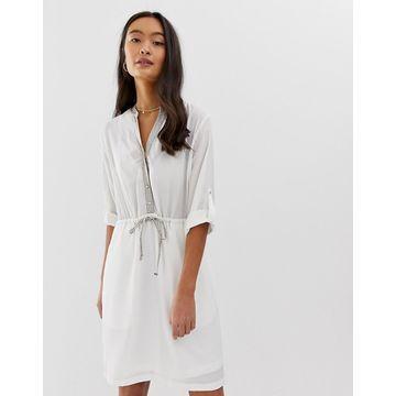 QED London tie waist dress in white