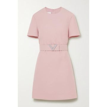 Valentino - Crystal-embellished Belted Wool And Silk-blend Crepe Mini Dress - Pink