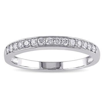 Miadora 10k White Gold 1/4ct TDW Diamond Anniversary Stackable Wedding Band Ring