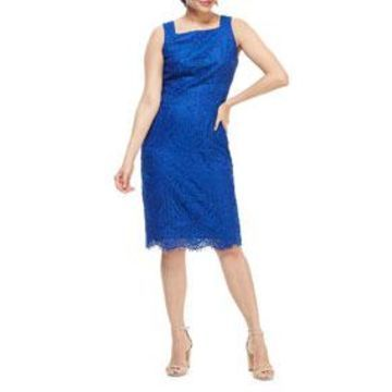 Square-Neck Sleeveless Lace Sheath Dress