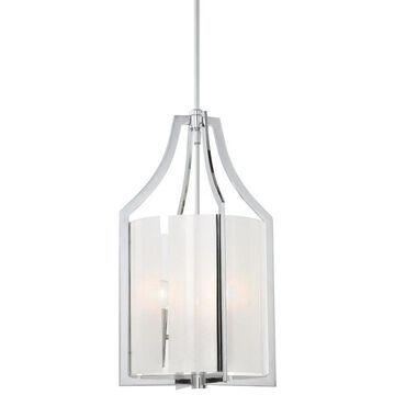 Minka Lavery 4392 3 Light Indoor Full Sized Pendant from the Clarte Collection Chrome Indoor Lighting Pendants Lantern