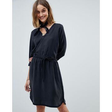 Maison Scotch Kimono Inspired Wrap Dress-Black