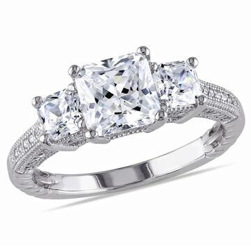 Miadora Sterling Silver White Square Cut Cubic Zirconia Engagement Ring
