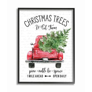 Stupell Industries Christmas Red Farm Truck with Winter Pine Framed Wall Art - Multi-Color (Black - 24 x 30)