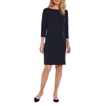Petite Studded 3/4-Sleeve Boat-Neck Dress