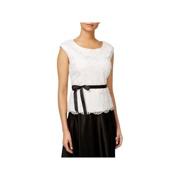 Alex Evenings Womens Blouse Embroidered Sleeveless