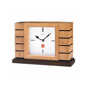 Bulova White Table Clock-B1659