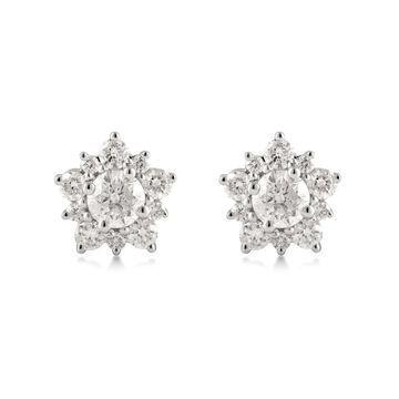 Divina Sterling Silver 1.0ct TDW Diamond Flower Stud Earrings