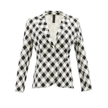 Norma Kamali - Gingham Stretch-jersey Jacket - Womens - Black White