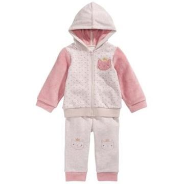 First Impressions Baby Girls 2-Pc. Dot-Print Minky Cat Hoodie & Pants Set, Created For Macy's