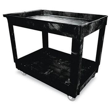 Service/Utility Cart, Two-Shelf, 24w x 40d x 31.25h, Black