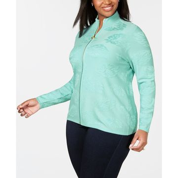 Plus Size Leaf-Jacquard Zippered Sweater