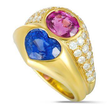 Bvlgari Doppio Yellow Gold Diamonds Blue and Pink Sapphire Double Ring