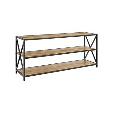 Walker Edison Console and Sofa Tables Barnwood - Barnwood X-Frame Metal & Wood Bookshelf