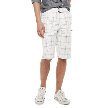 Men's Urban Pipeline Belted Stretch Canvas Cargo Shorts, Size: 30, White